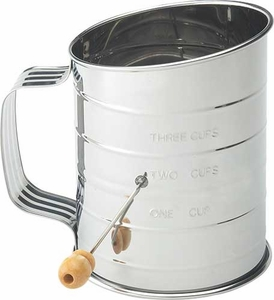 Mrs. Anderson's 3 Cup Stainless Steel Crank Sifter - Click to enlarge
