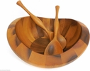 Nambe Bella Wood Salad Bowl with Servers