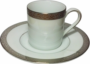 Nikko Ceramics Set of 6 Platinum Filigree Demitasse Cups and Saucers - Click to enlarge