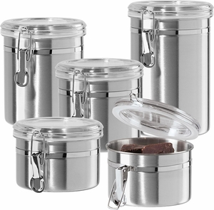 Oggi 5 piece Stainless Steel Canister Set - Click to enlarge
