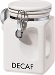 Oggi White EZ Grip Decaf Coffee Canister