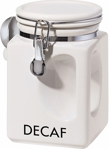 Oggi White EZ Grip Decaf Coffee Canister - Click to enlarge