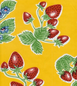 Oilcloth Forever Yellow Strawberries Tablecloth - Click to enlarge