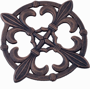 Old Dutch Antique Copper Fleur de Lis Trivet - Click to enlarge