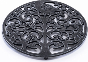 Old Dutch Antique Pewter Tree of Life Trivet - Click to enlarge