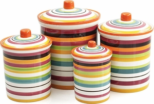 Omniware Rio Set of 4 Multi-Stripe Canisters - Click to enlarge