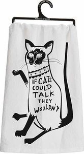 Primitives by Kathy Cats Could Talk Tea Towel - Click to enlarge