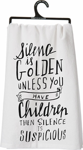 Primitives by Kathy Silence is Golden Tea Towel - Click to enlarge