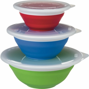 Progressive Set of 3 Collapsible Storage Bowls with Lids - Click to enlarge