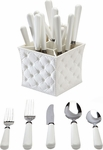 QSquared Provence 20pc Flatware Set and Caddy White