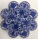 Scalloped Blue Print Ceramic Trivet