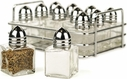 Set of 12 Mini Salt & Pepper Shakers with Storage Rack