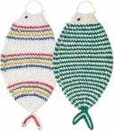 Set of 2 Green and Primary Fish Tawashi Scrubbers