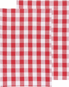 Set Of 2 Picnic Check Poppy Kitchen Towels   Click To Enlarge