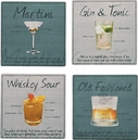 Set of 4 Cocktails Coasters