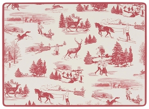 Set of 4 Holiday Toile Corkback Placemats - Click to enlarge