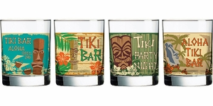 Set of 4 Tiki Pop Double Old Fashioned Glasses - Click to enlarge