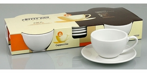 Set of 4 White Ceramic Cappuccino Cups and Saucers - Click to enlarge