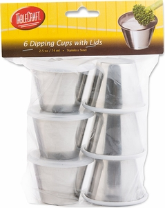 Tablecraft Set of 6 Stainless Steel 2.5oz Dipping Cups with Lids - Click to enlarge