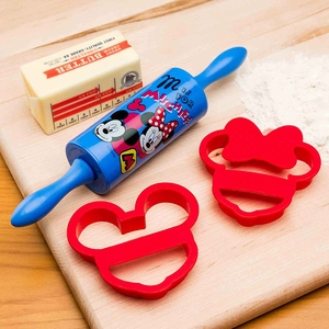 Zak Designs Mickey & Minnie 3 Piece Cookie Rolling Pin and Cutter - Click to enlarge