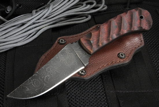 Exclusive Winkler Knives Blue Ridge Hunter - Sculpted Maple and Damascus