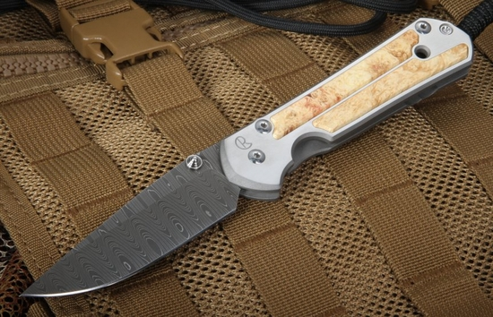 Chris Reeve Large Box Elder Burl and Ladder Damascus Sebenza