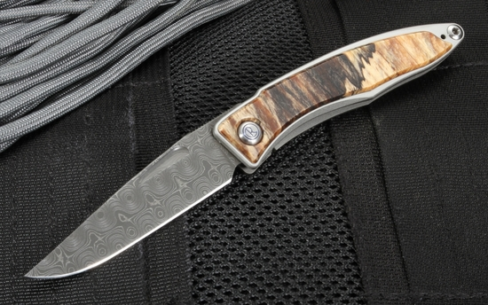 Chris Reeve Mnandi Spalted Beech and Raindrop Damascus