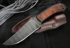 Exclusive Winkler Crusher Belt Knife - Damascus and Maple