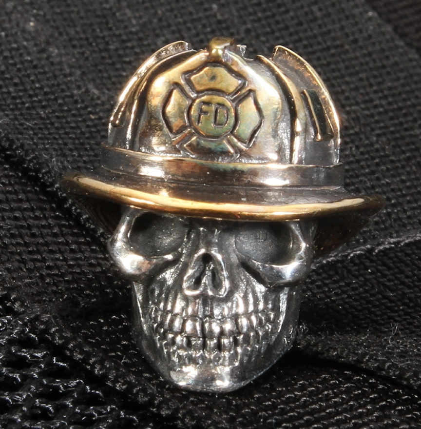 gd skulls fire fighter sterling silver skull with bronze hat free