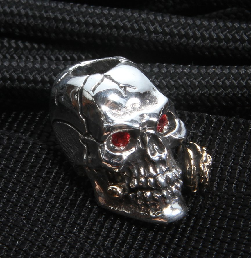 GD Skulls Sterling Silver Rose Skull with Jewel Eyes and ...