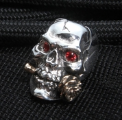 GD Skulls Sterling Silver Rose Skull with Jewel Eyes and Bronze Rose