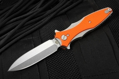 Hinderer Knives Maximus Folding Dagger - Orange G-10