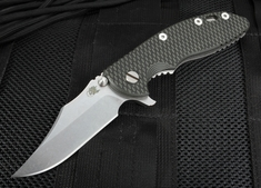 "Rick Hinderer XM-18 3.5"" Bowie Blade - Black and Green - S35VN"