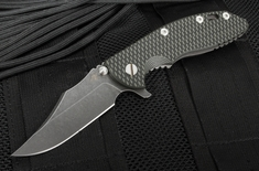 """Rick Hinderer XM-18 3.5"""" Bowie - Black and Green - DLC Blade - Working Finish Handle"""