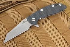 """Rick Hinderer XM-18 3"""" Black and Blue Wharncliffe Flipper"""