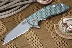 """Rick Hinderer XM-18 3"""" Green and Tan Wharncliffe Folding Knife"""