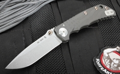 Spartan Blades Special Edition Harsey Folder - Flag Engraved - Gray Anodized