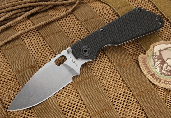 Strider Knives SNG Black and Stone Washed Folding Knife - CPM-S30V