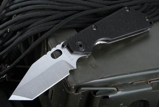 Strider SNG-T Black and Stone Washed Tactical Folding Knife