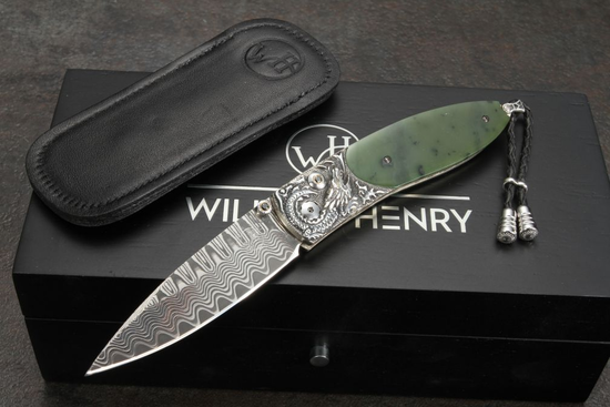 William Henry B05 Emperor - Green Jade, Carved Silver and Damascus Folding Knife