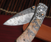 William Henry B09 Rock Creek Kestrel - Carved Silver and Damascus Folding Knife