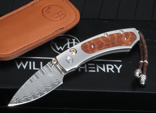 William Henry B09 TSW - Snakewood and Wave Pattern Damascus