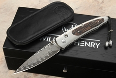 William Henry B10 Island Wave Lancet - Damascus Folding Knife