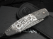 William Henry B12 Inferno - Damascus, Carved Silver and Gemstones