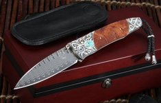 William Henry B30 Cripple Creek Gentac - Carved Silver & Damascus Folding Knife