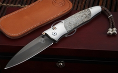 William Henry B30 Raven Fossil Mammoth Bone Folding Knife