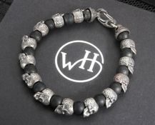 William Henry BB4 Shaman - Sterling Silver Skull Bead & Black Onyx Bracelet