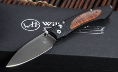 William Henry E6-9 EDC Curly Koa Wood Inlay Folding Knife