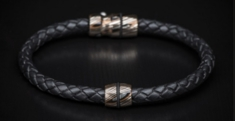 William Henry LB1 M Venus Braided Leather and Mokume Bolt Action Bracelet