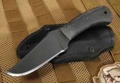 Winkler Blue Ridge Hunter  - Caswell and Black Micarta - Leather Sheath